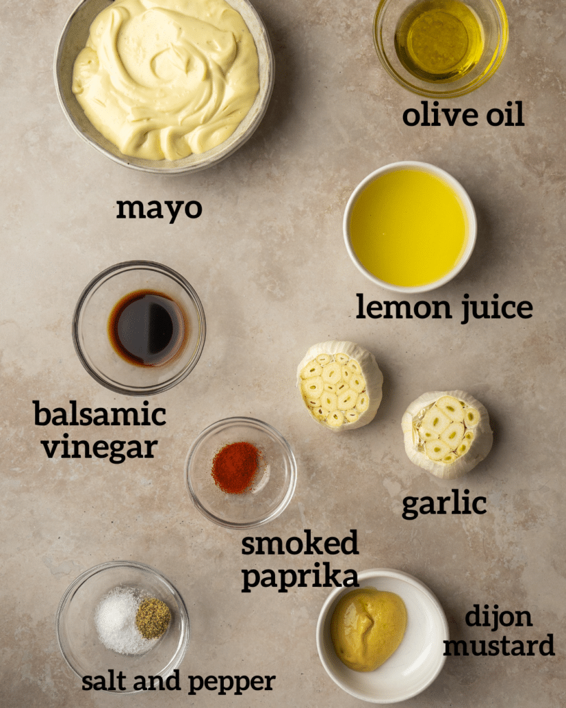Above view of ingredients for roasted garlic aoili sauce