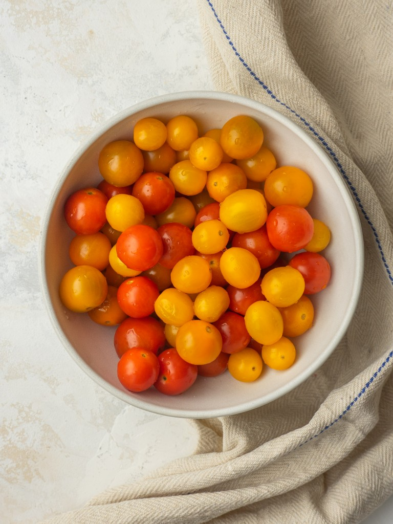 Above view of cherry tomatoes for marinated tomatoes recipe