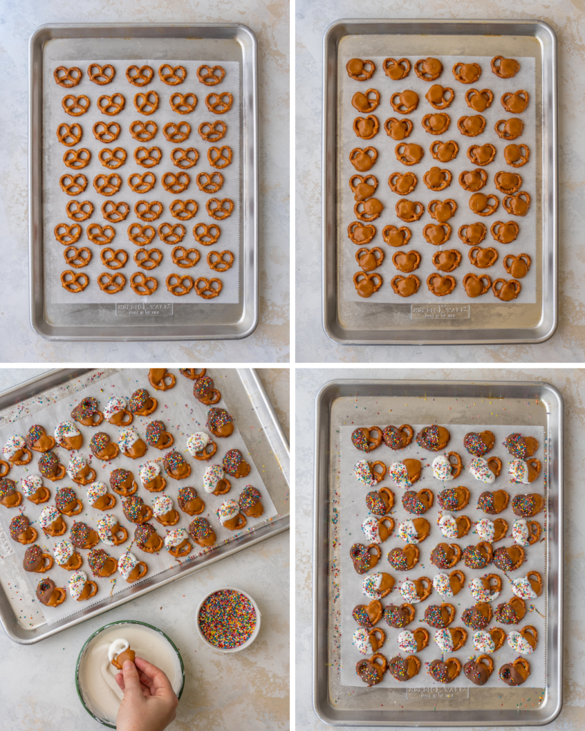 Above view of step by step assembly of chocolate caramel pretzel bites