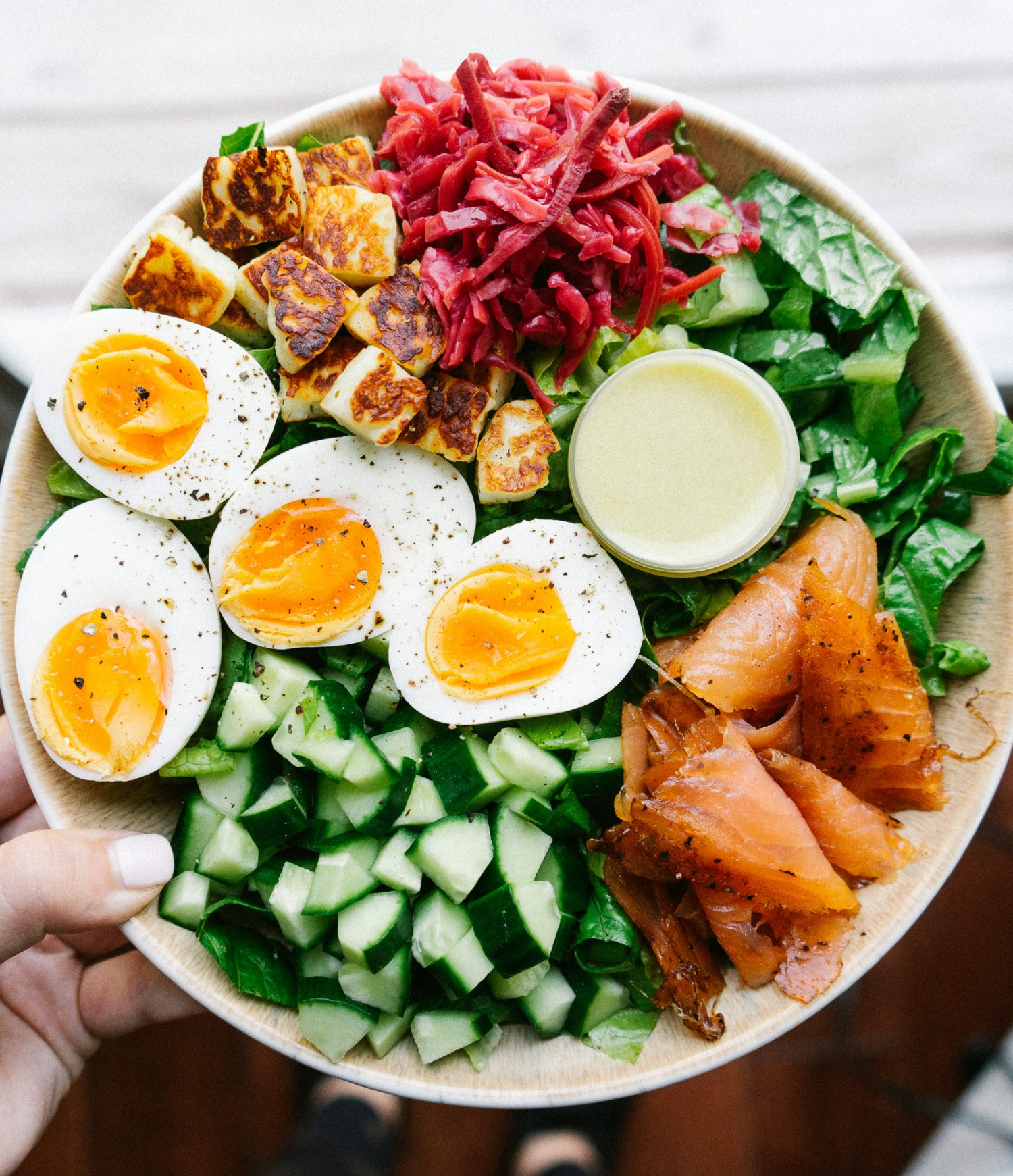 Above view of salad with everyday salad dressing