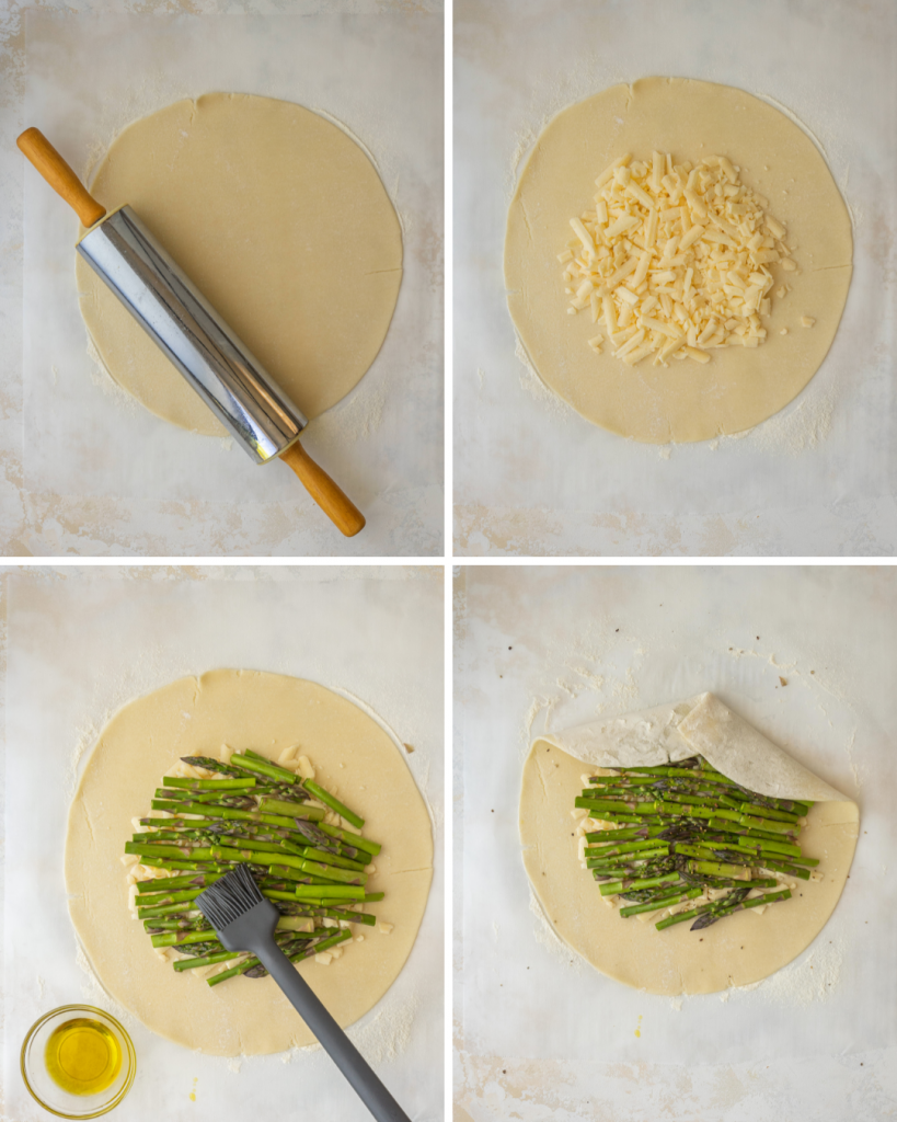 Above view of assembling a savory galette