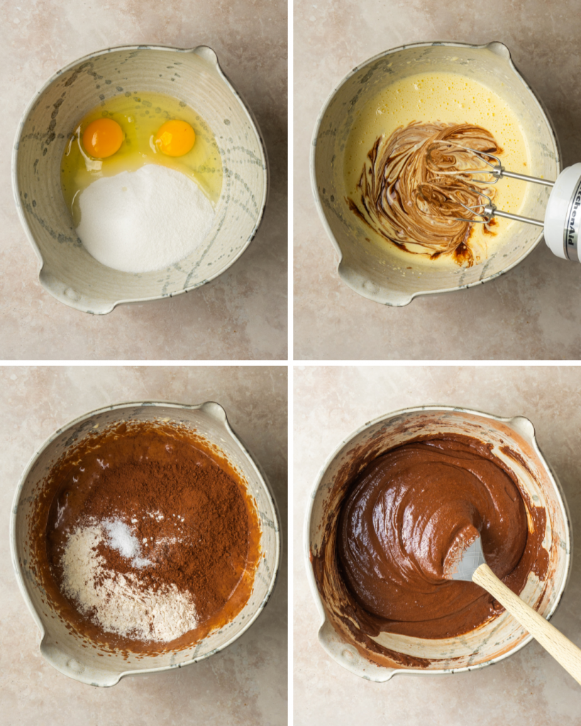 Above view of step by step assemble of brownie bites batter