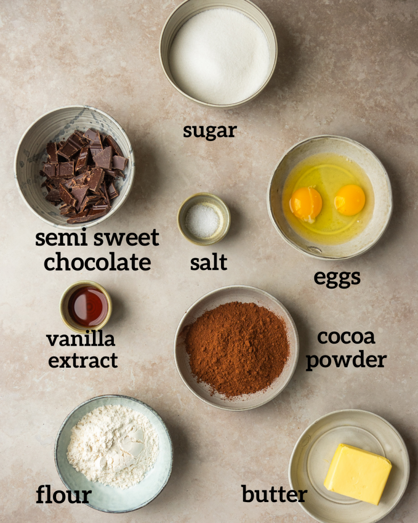 Above view of ingredients fro brownie bites recipe