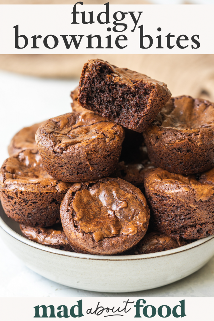 Image for pinning Fudgy Brownie Bites recipes on Pinterest