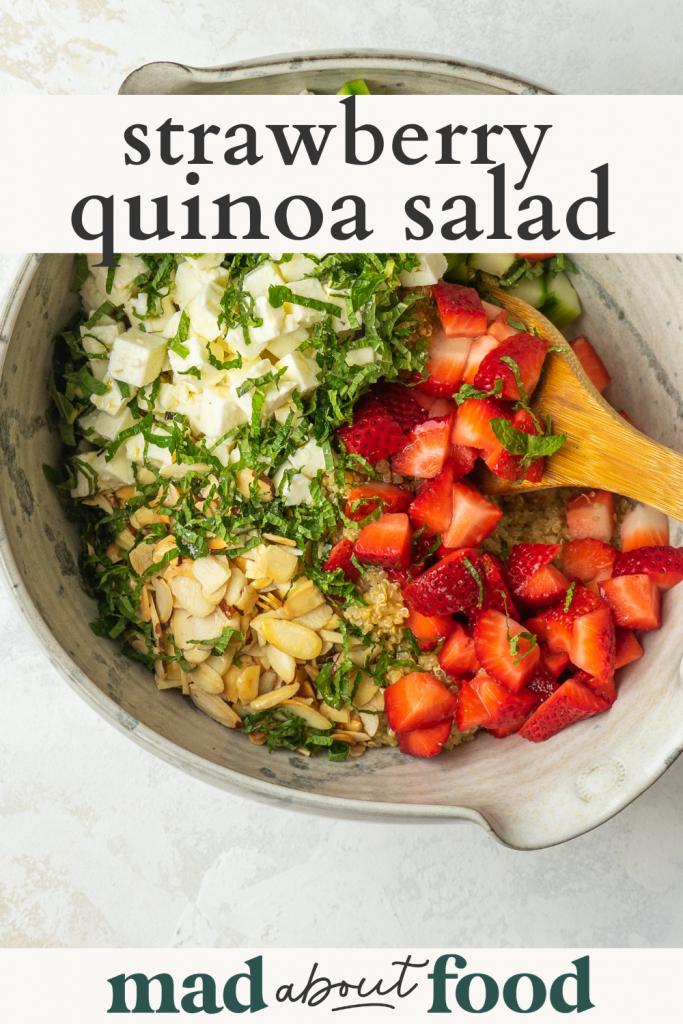 Image for pinning Strawberry Quinoa Salad recipe on Pinterest