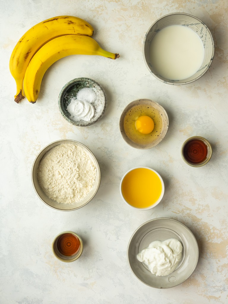 Above view of ingredients for banana panckes