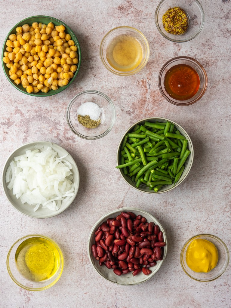 Above view of ingredients for honey mustard three bean salad recipe