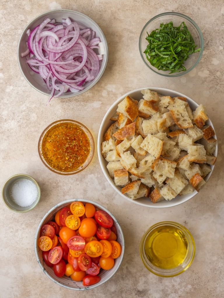 Above view of ingredients for sourdough panzanella recipe for