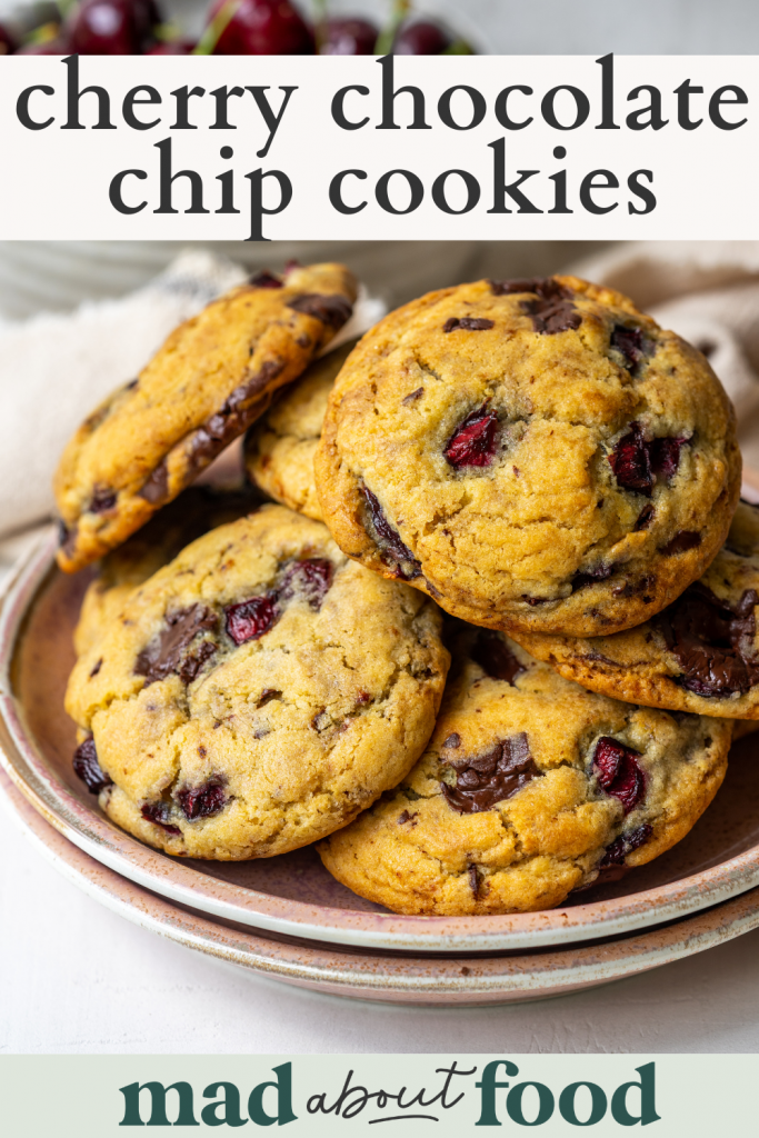 Image for pinning Cherry Chocolate Chip Cookies recipe on Pinterest