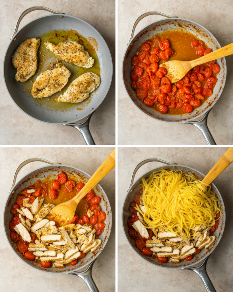 Above view of step by step assembly of cherry tomato pasta