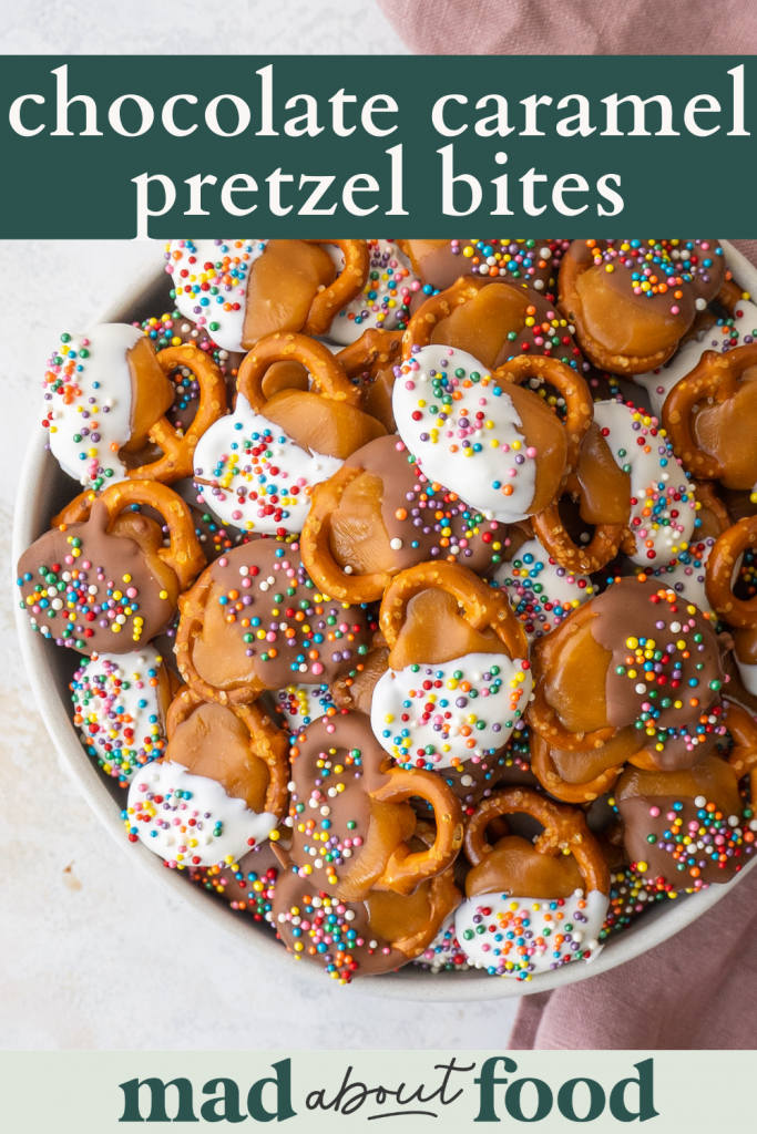 Image for pinning caramel chocolate covered pretzels on pinterest