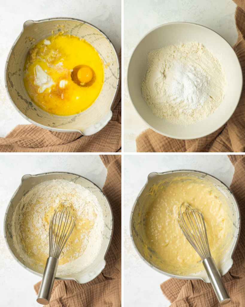 Above view of step by step assembly of easy banana pancakes