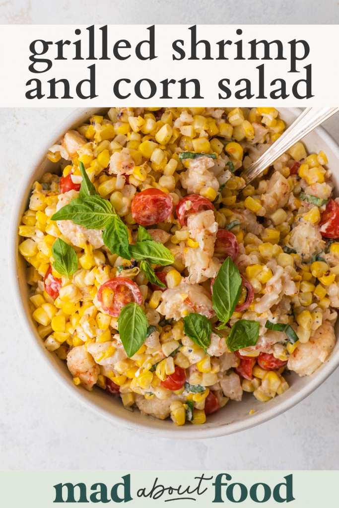 Image for pinning Grilled Shrimp and Corn Salad recipe on Pinterest
