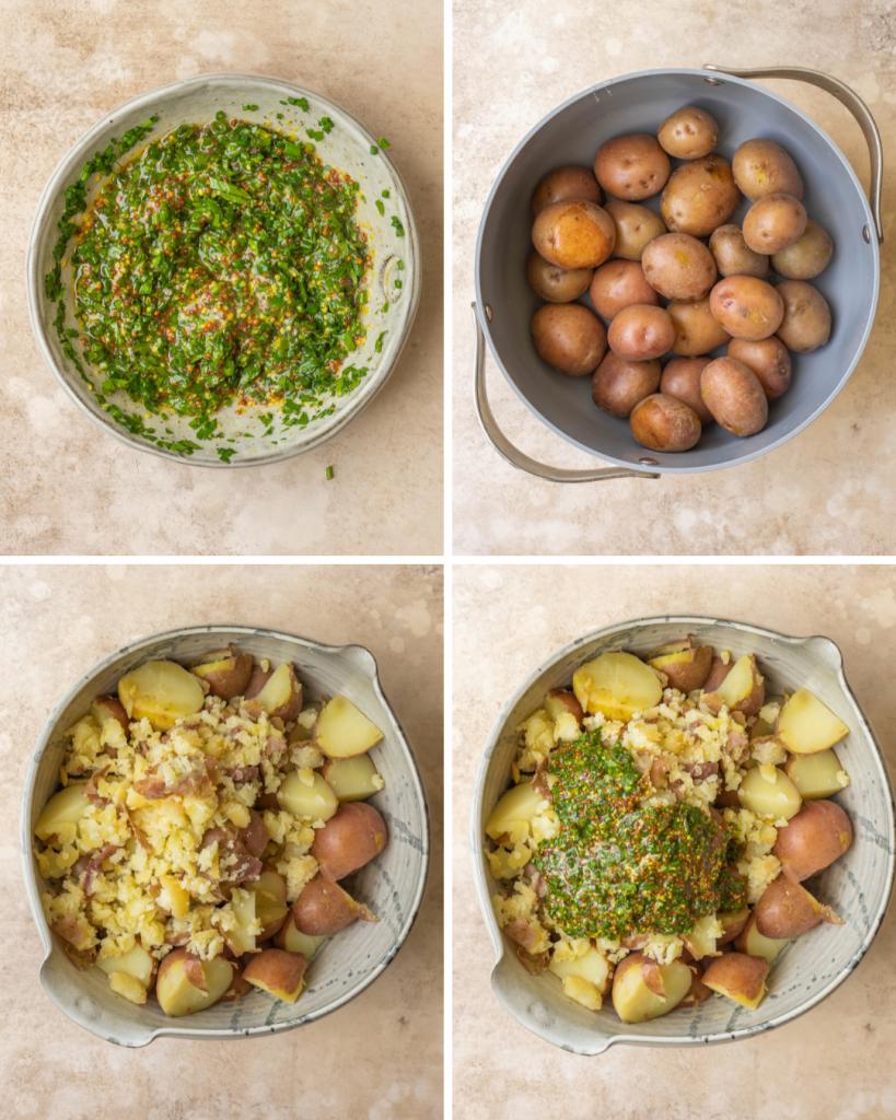 Step by step assembly of no mayo potato salad