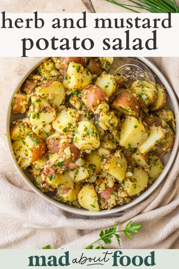 Image for pinning herb and mustard potato salad recipe on pinterest