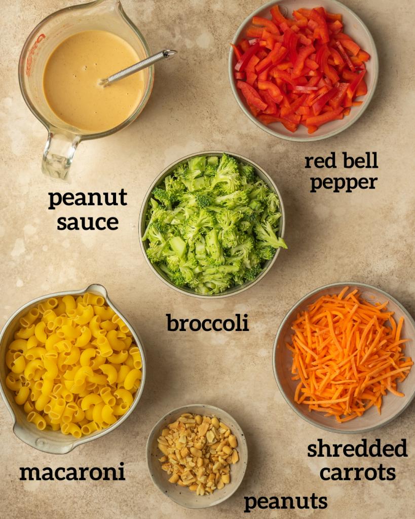 Above view of Peanut Broccoli Pasta Salad ingredients