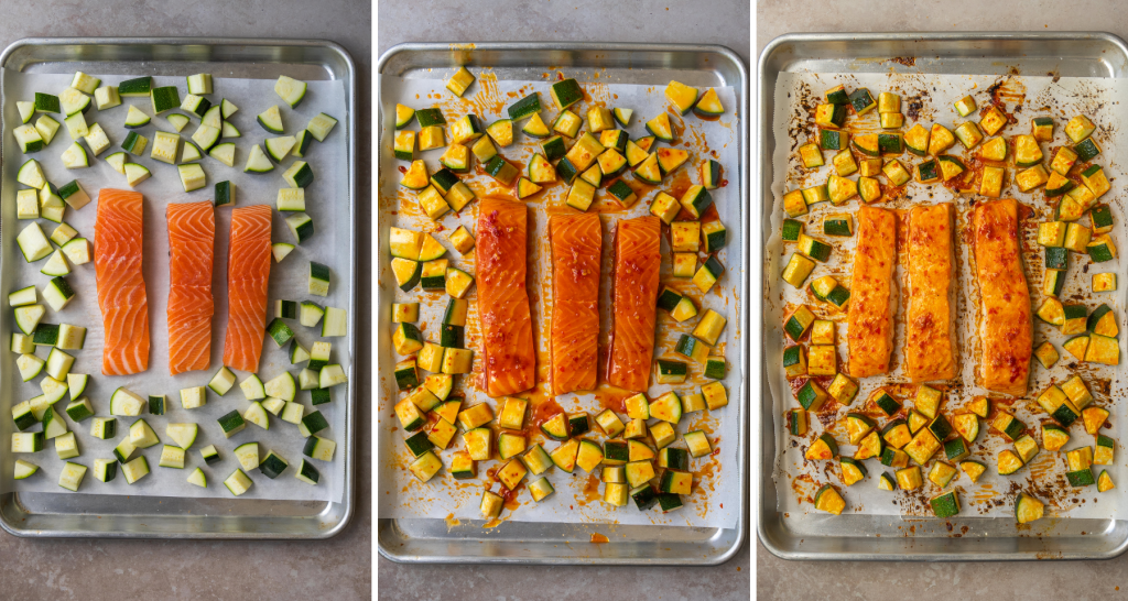 Above view of step by step assembly for sheet pan harissa salmon