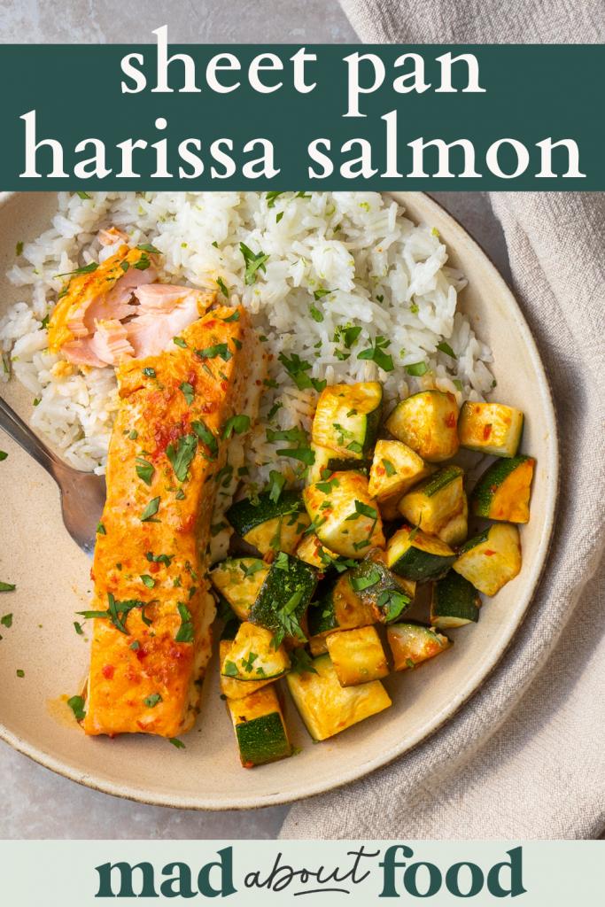 Image for pinning sheet pan harissa salmon recipe on Pinterest