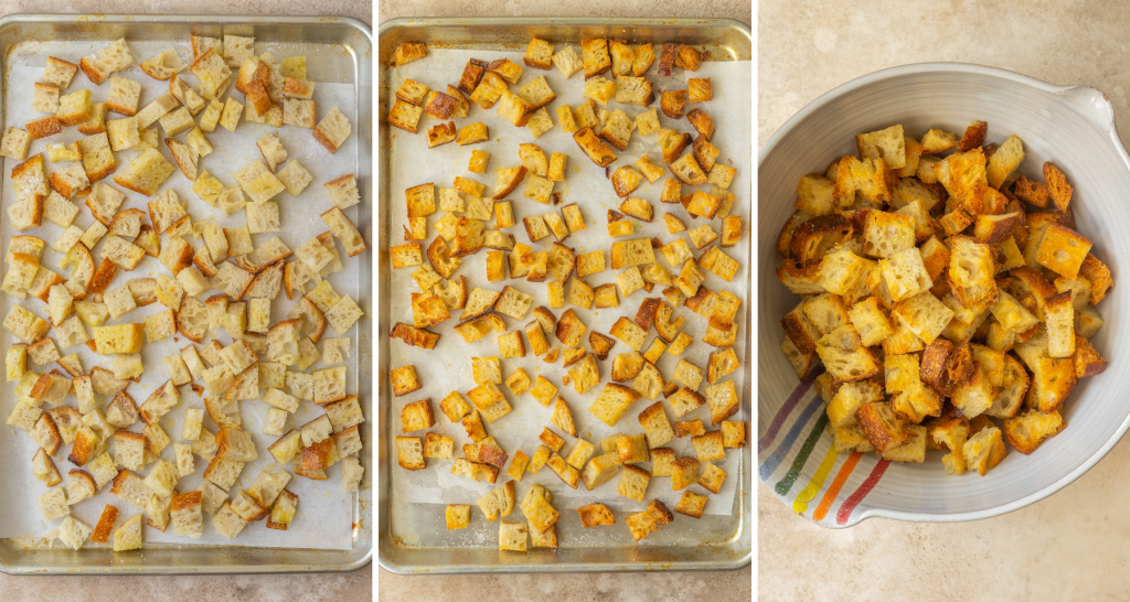 Step by step images of toasting bread cubes