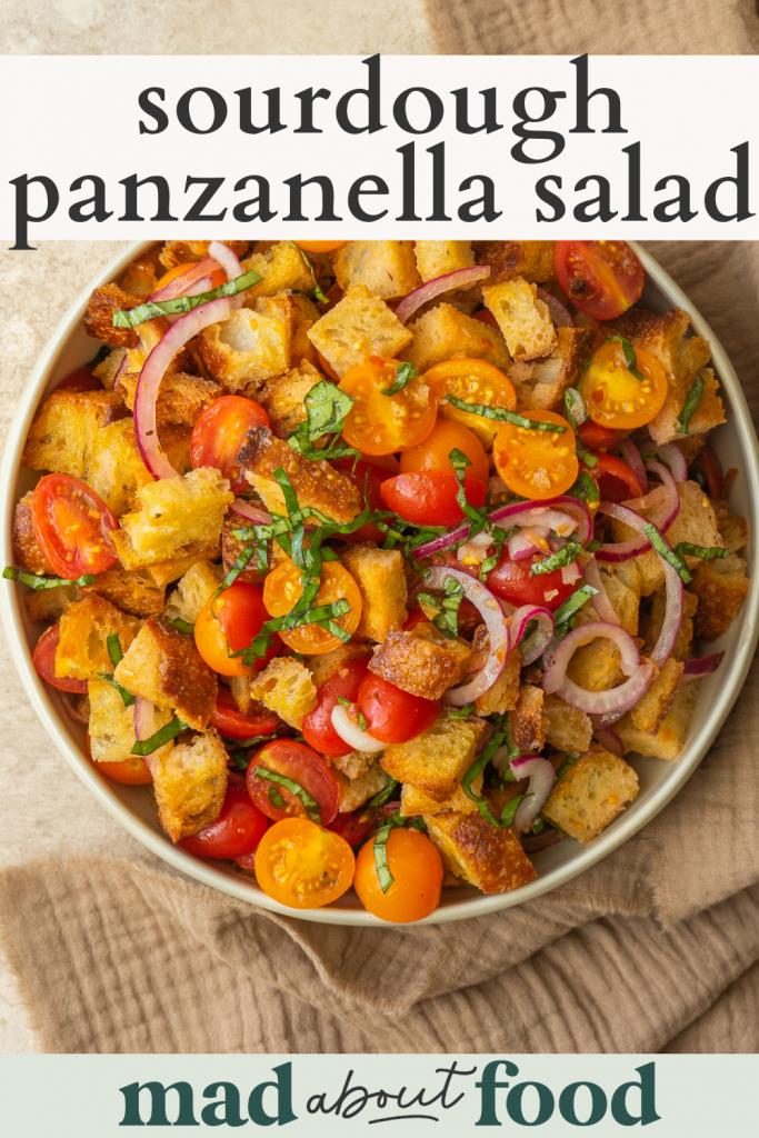 Image for pinning Sourdough Panzanella Salad recipe on pinterest