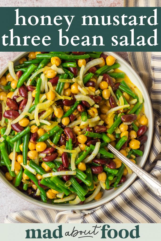 Image for pinning honey mustard three bean salad recipe on pinterest