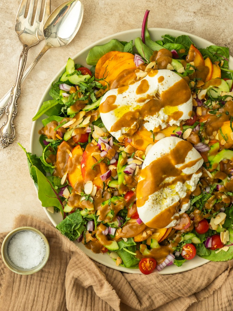 Peach salad recipe with creamy balsamic dressing and burrata
