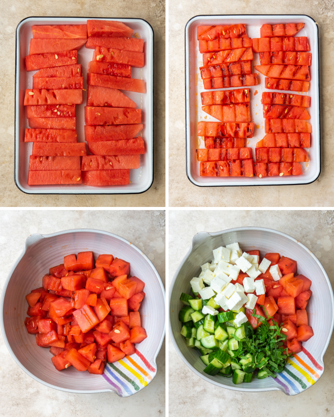 Above view of step by step assembly of grilled watermelon salad