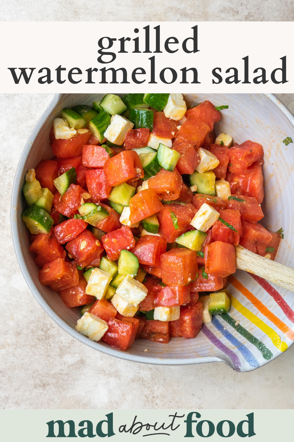 Image for Pinning Grilled Watermelon Salad recipe on Pinterest