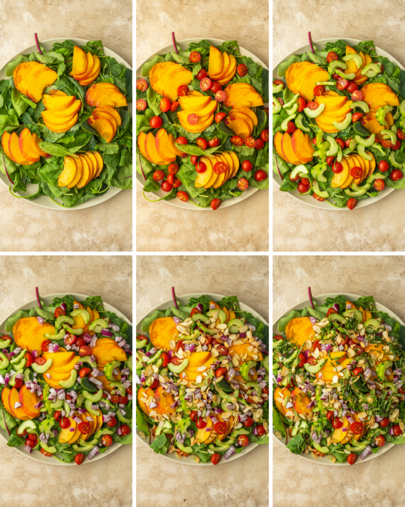 Step by step assembly of peach burrata salad
