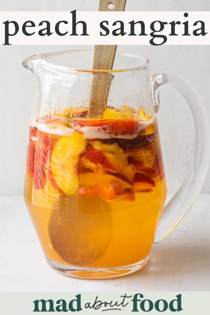 Image for pinning Peach Sangria Recipe on pinterest