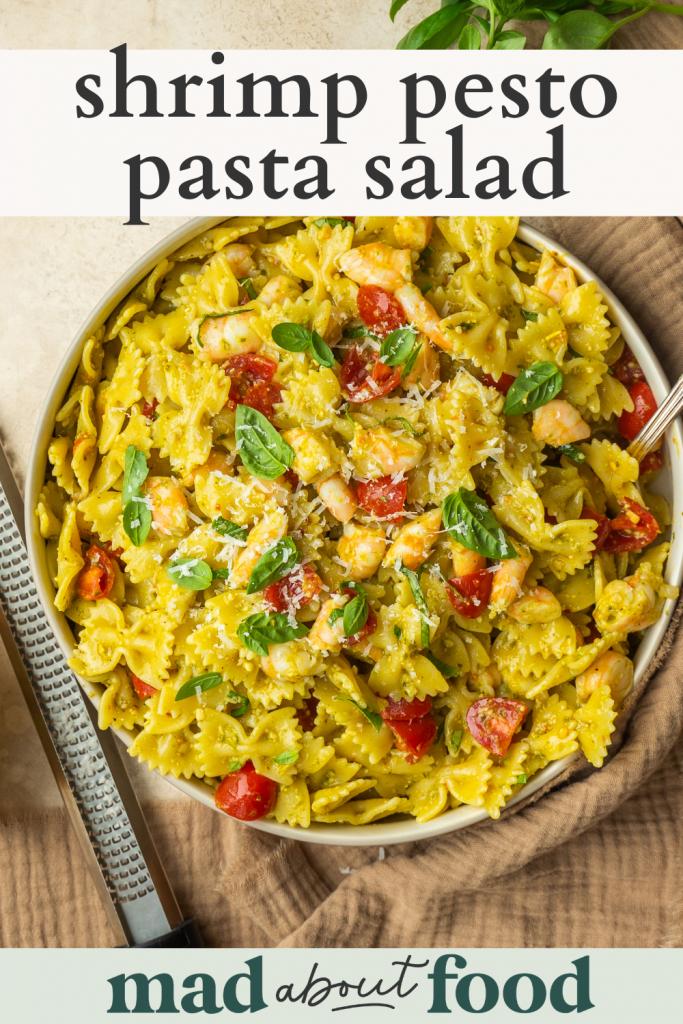 Image for pinning Shrimp Pesto Pasta Salad recipe on pinterest