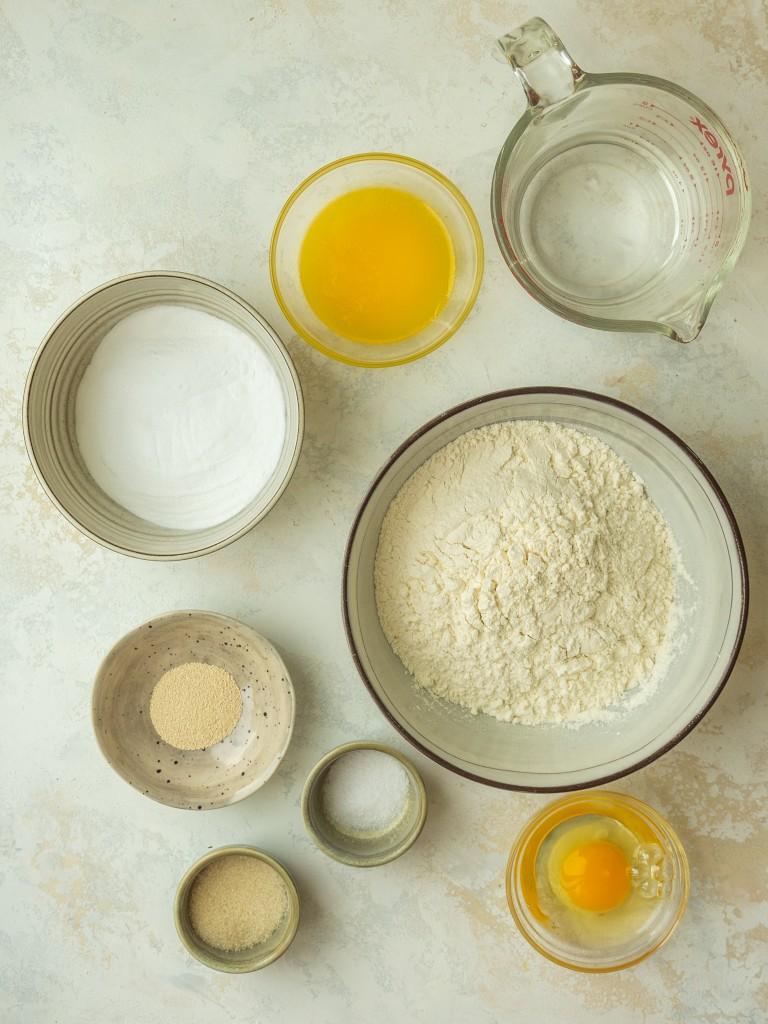 Above view of ingredients for pretzel hot dog bun dough