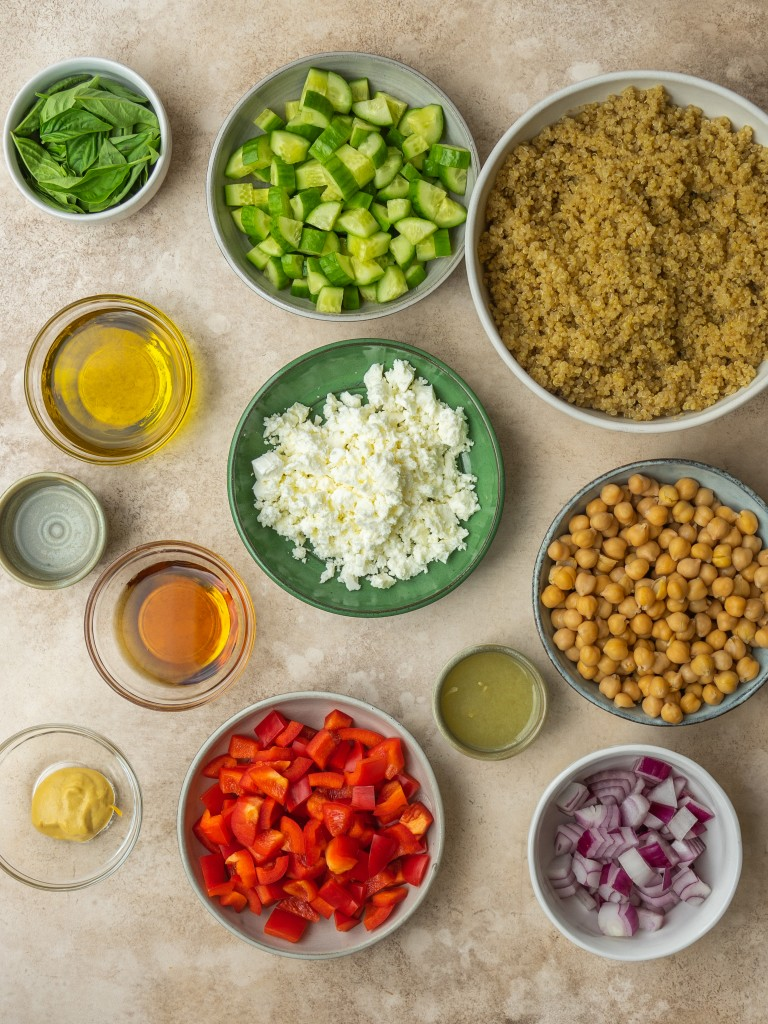 Above view of ingredients for quinoa and chickpea salad