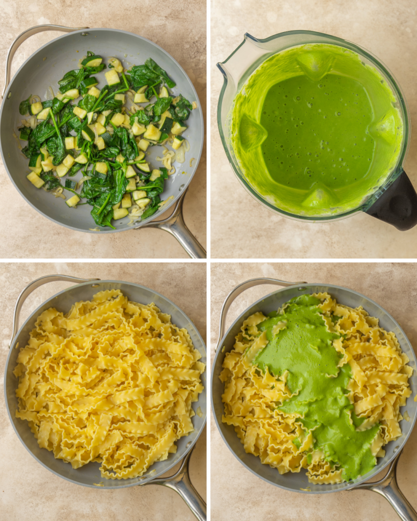 Step by step assembly of green pasta sauce recipe