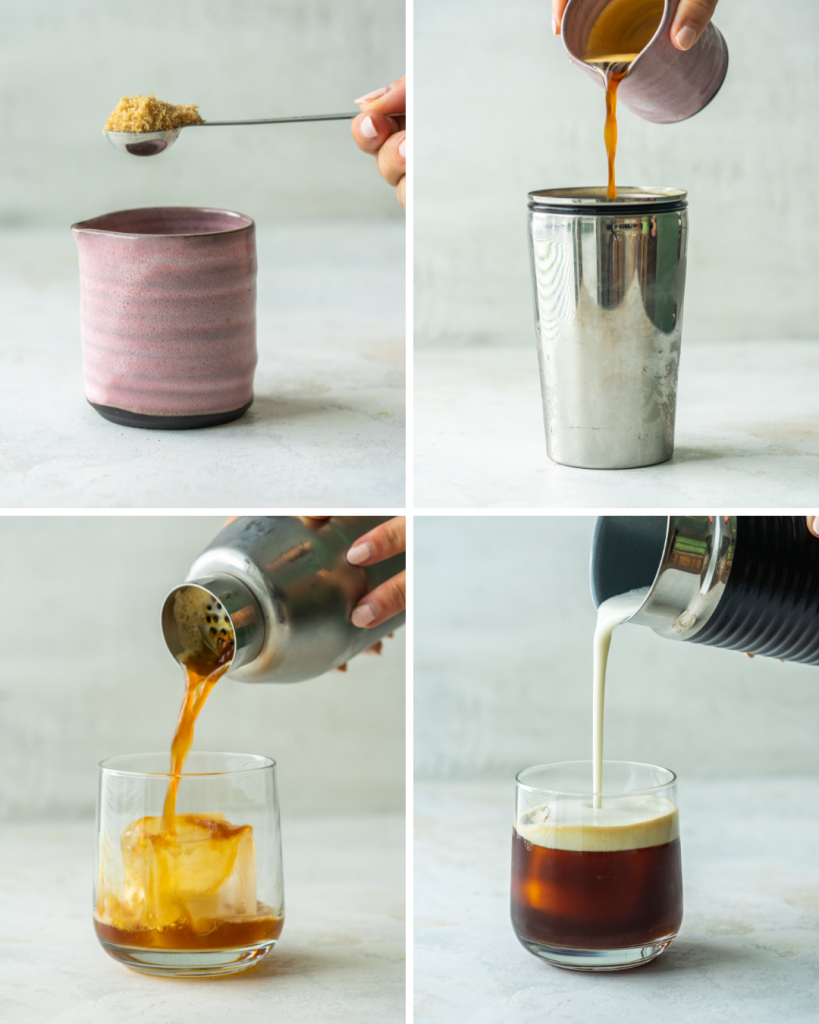 Step by step assembly of a starbucks iced shaken espresso