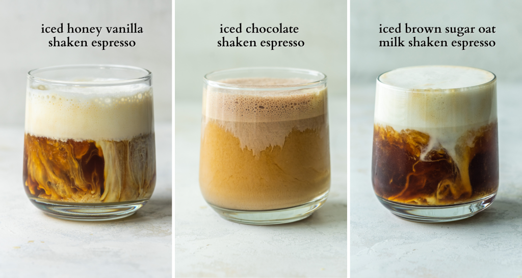 Three types of iced shaken espresso drinks that you can make at home