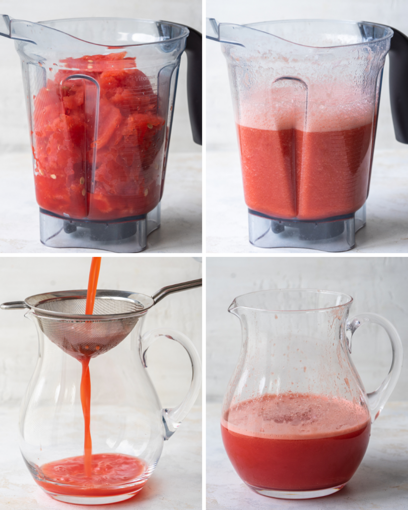 Step by step assemble of watermelon vodka drink