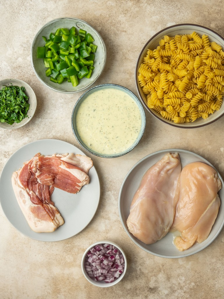 Above view of ingredients for chicken bacon ranch pasta