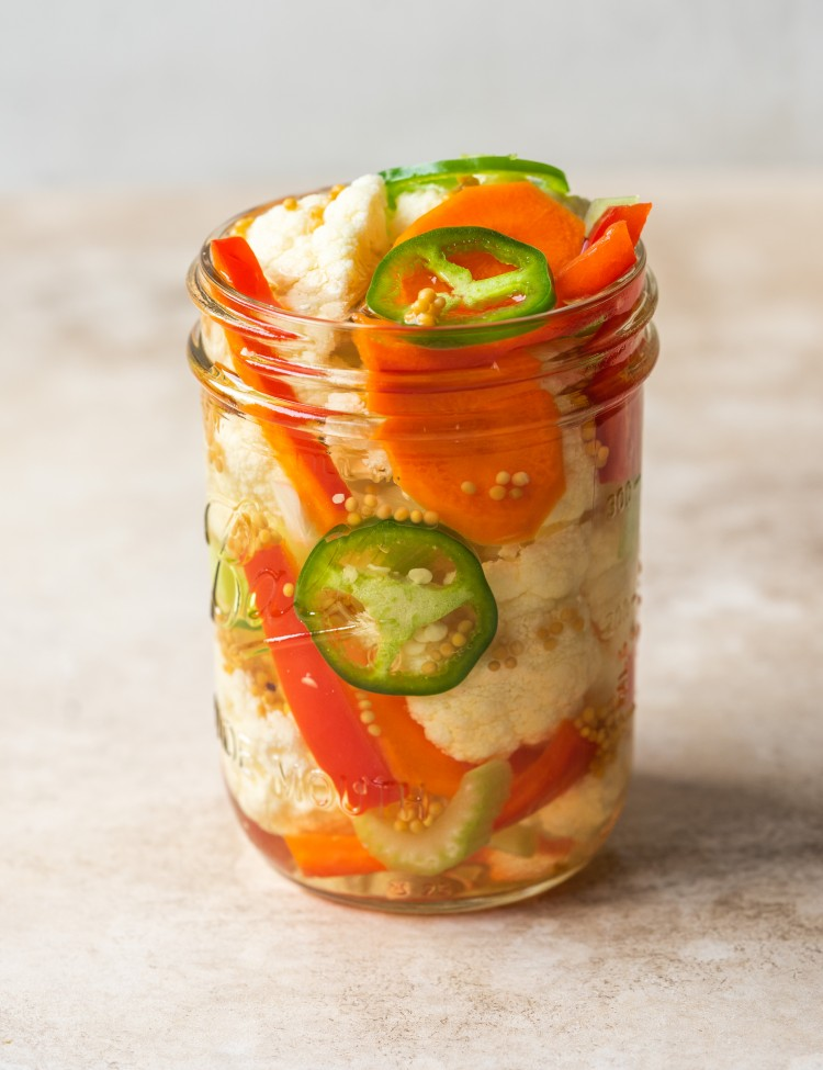 Side view of quick pickled mixed veggies
