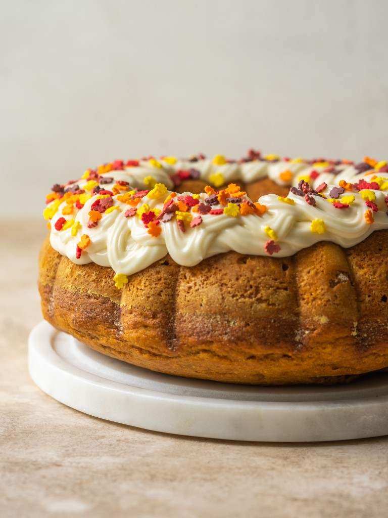 Side view of canned pumpkin and yellow cake mix cake