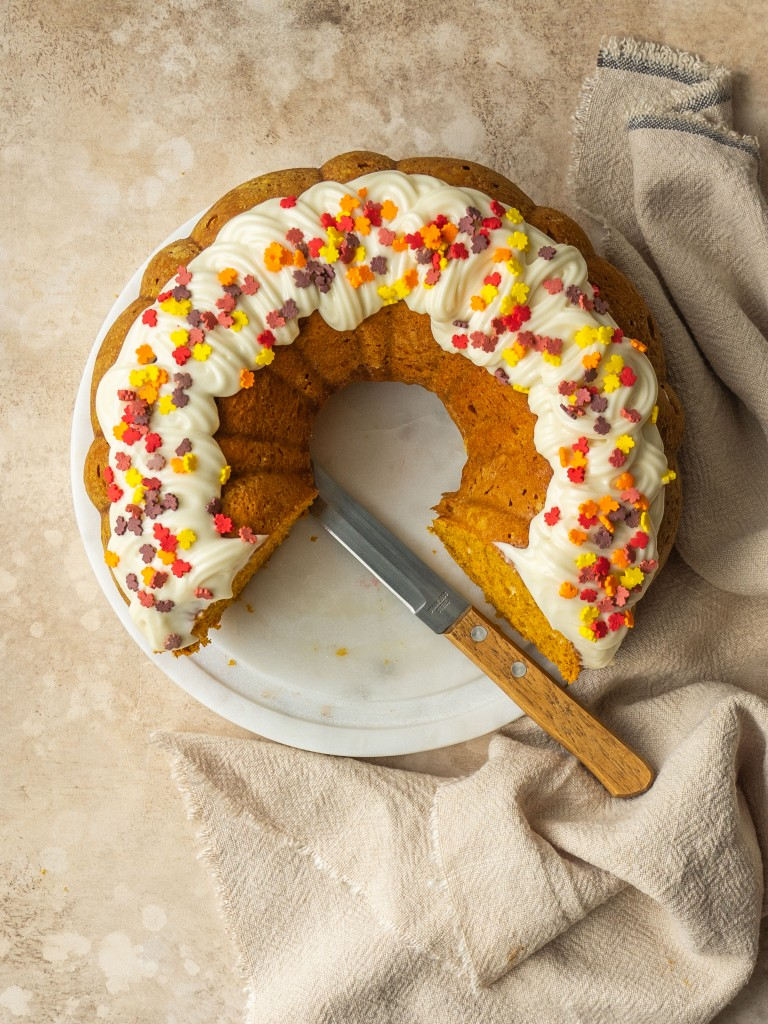 Above view of a cake made with a pumpkin yellow cake mix recipe