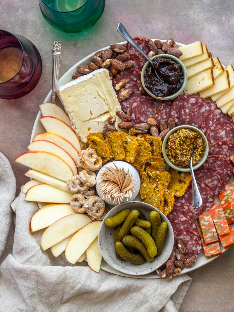 Above view of fall charcuterie board