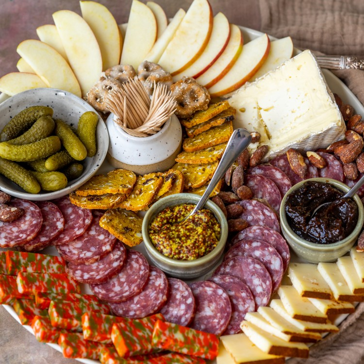 Three quarter view of a trader joes charcuterie board