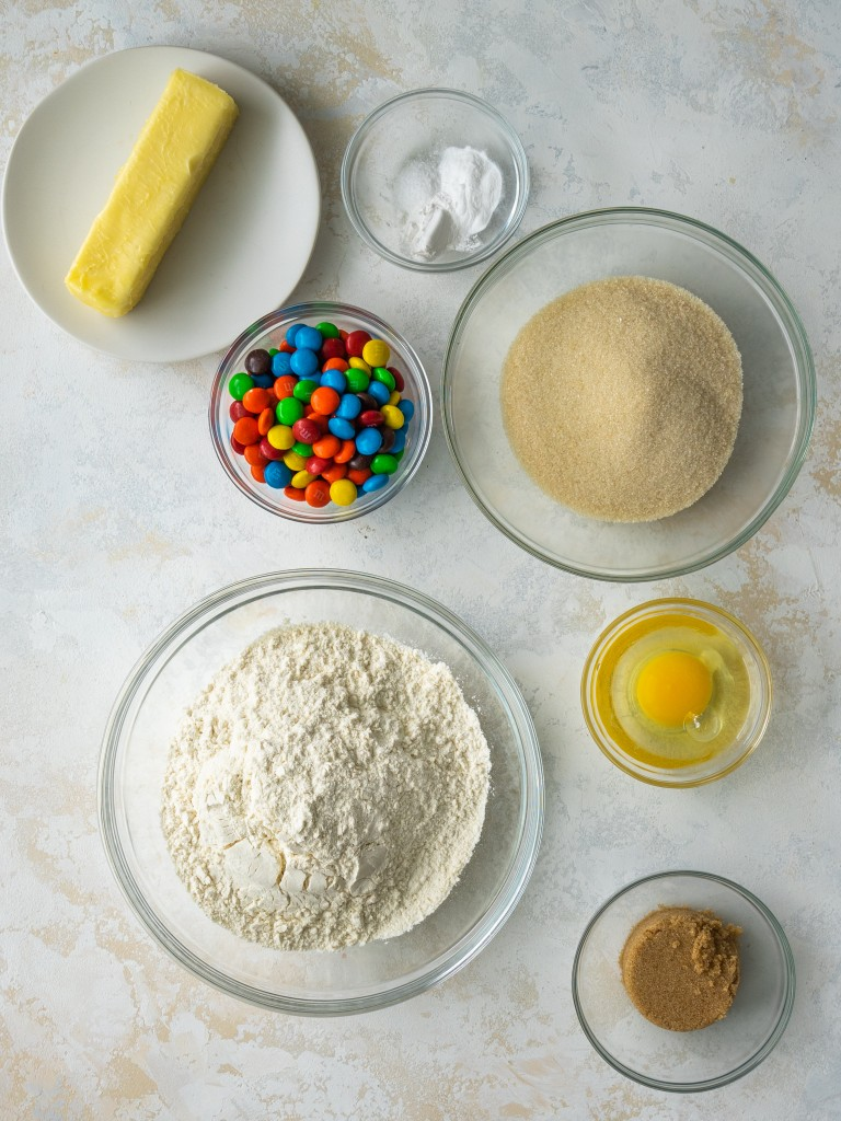 Above view of ingredients for m&m cookie recipe