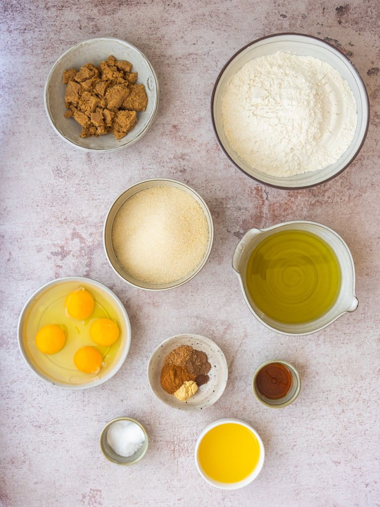 Above view of ingredients for spice cake