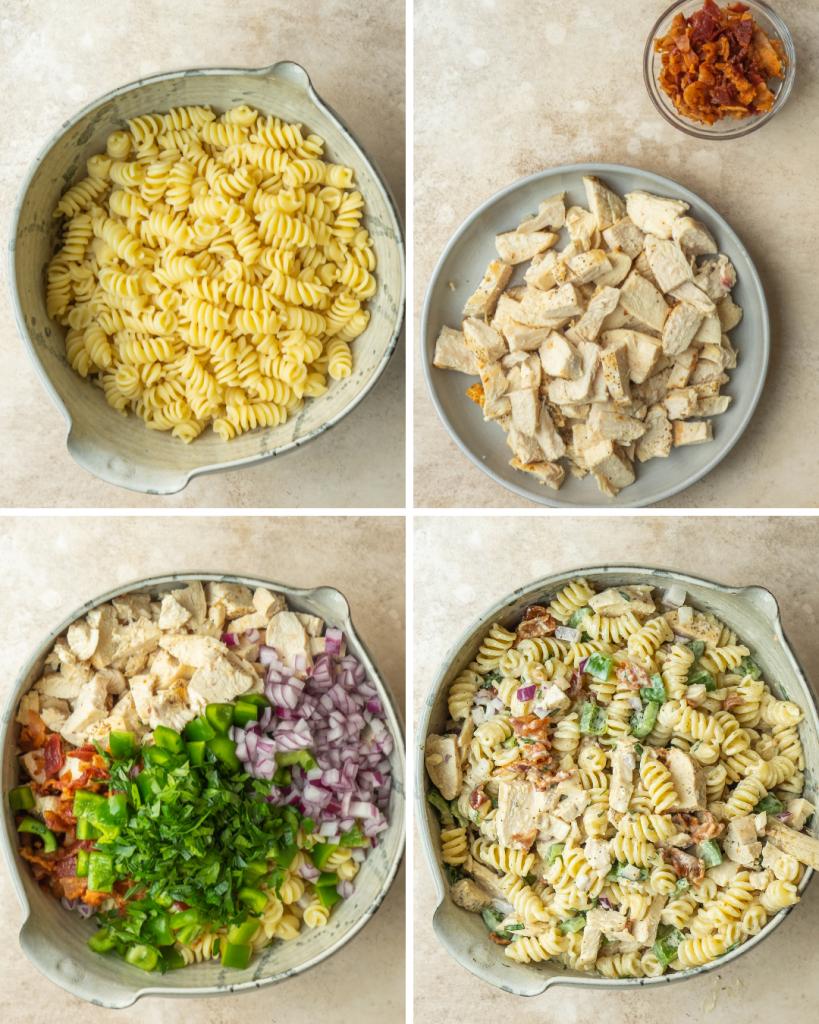 Chicken bacon ranch pasta salad assembly