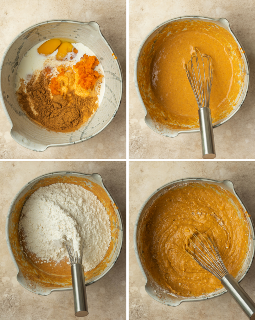 Above view of step by step assembly of pumpkin cake batter
