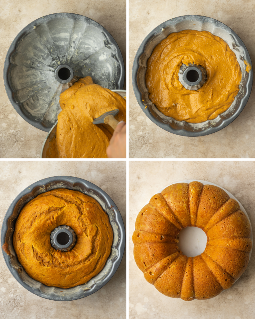 Above view of step by step assembly of pumpkin cake made with yellow cake mix