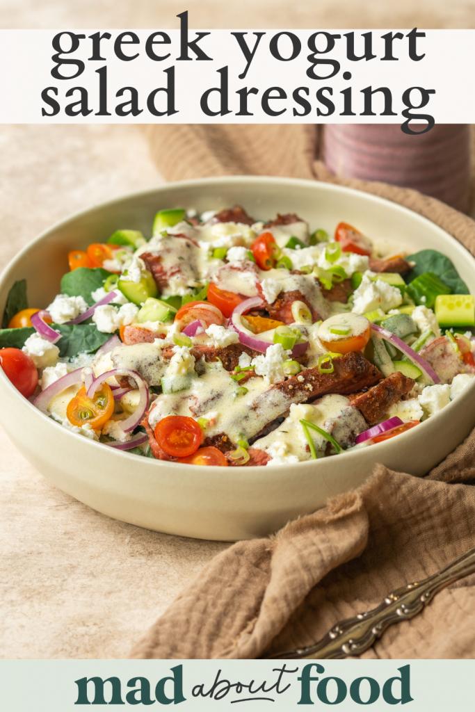 Image for pinning Greek Yogurt Salad Dressing recipe on pinterest