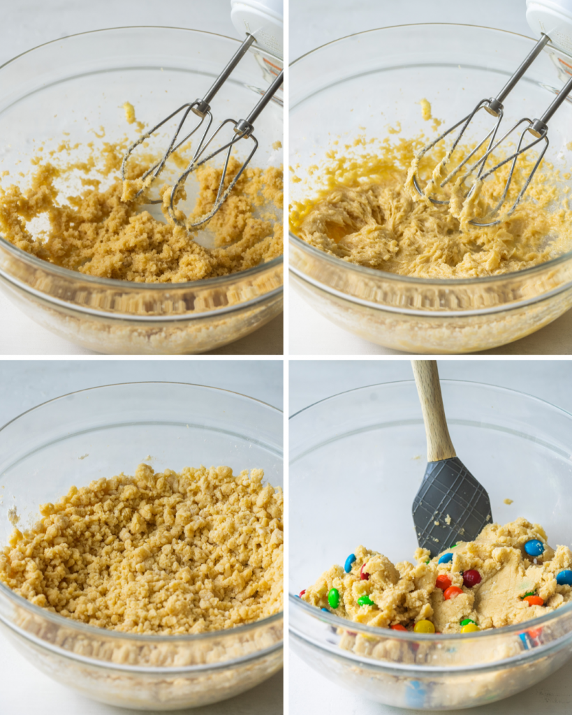 Step by step assembly of m&m sugar cookies